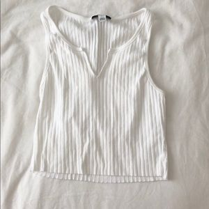 Topshop White Ribbed Top